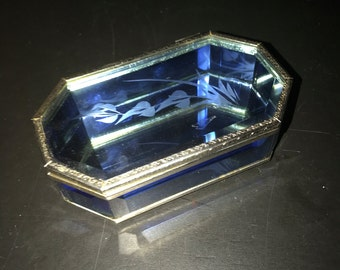 Cornflower Blue Stained Glass Lidded Box with Floral Etched Design