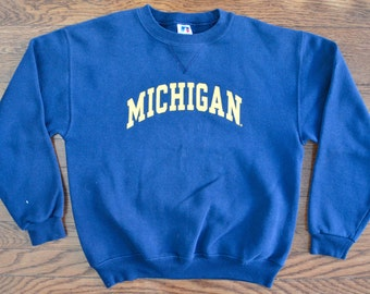 90s Vintage University of Michigan Wolverines Crewneck Sweatshirt - Youth Medium