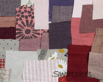 Swatches of LINENGRAPHY fabrics and sewn items. Pick your own set !