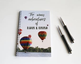 Personalized Travel Notebook, Hot Air Balloon notebook, Travel journal, Wanderlust log, Custom notebook, Travel gift, The Many Adventures of