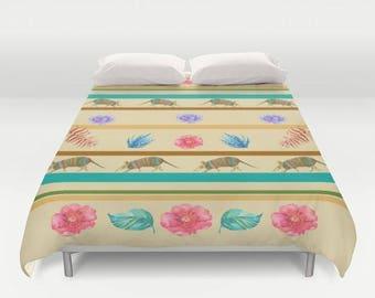 Southwest Pattern Duvet Cover or Comforter, Armadillo terracotta, turquoise, olive green, Santa Fe style, beautiful, bedroom decor