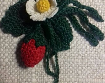 Strawberry crochet brooch