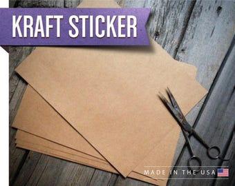 Kraft Paper Labels | Natural Kraft Sticker Paper (Quantity 1-10) | DIY Labels | Sticker Sheet | Blank Stickers 8.5x11