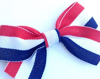 Red White & Blue Striped Bow