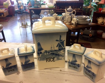 Set of 5 Czech Blue and White Canisters