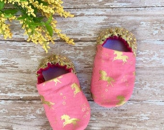 Metallic Gold + Pink Unicorns with Gold Sequin Moccasins - Sparkly Heel Baby Toddler Crib Shoes - Unicorn Booties - Soft Sole Slippers -Girl