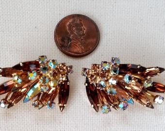Sherman jewelry golden  iridescent amber earrings
