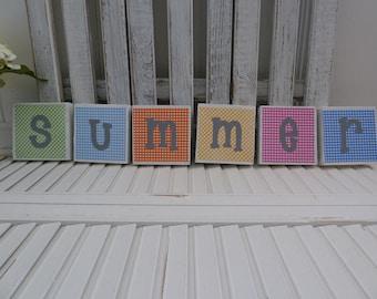 Handmade primitive wooden mixed media signs - Summer