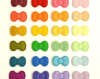 Choose your own color Bitty Bows - 3 or 6pk - Wool Felt bows for Babies, Girls and Dolls