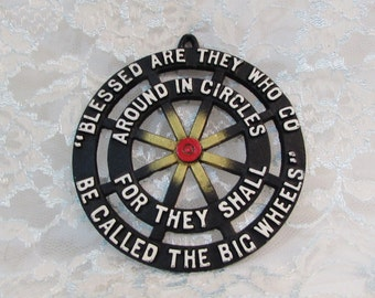 Vintage Trivet Cast Iron, Blessed are They Who Go Round in Circles . Round Cast Iron Trivet