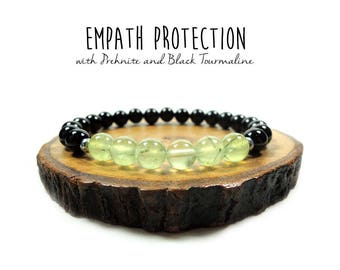 Empath and Aura Protection // Prehnite and Black Tourmaline // Reiki // Energy Bracelet // Best Selling Item // Healing Garden Shop