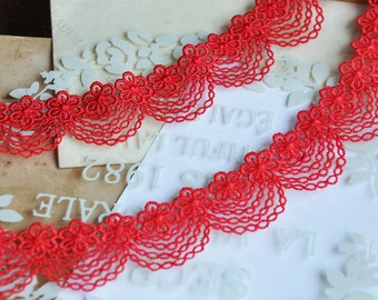 "3 Yards Lace Trim Red Tassels Exquisite Alencon Luxury Wedding Scalloped Embroidered 2.75"" width"