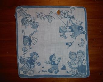 Vintage Child's Mabel Lucie Attwell Hankie - Vintage Child Children Playing Birds Rabbits Mouse Hankie - Whimsical Make Believe Hankie