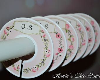 Floral Closet Dividers, Vintage Closet Dividers, Closet Organizers, Baby closet dividers, Baby shower gift, Girl Clothes dividers,  C105