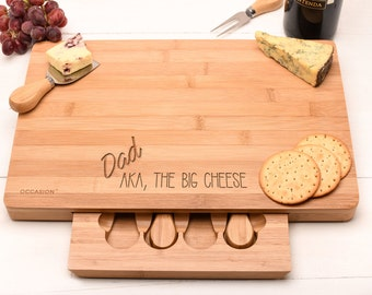Personalised Father's Day Gift Cheese Board set, Dad Gift with a Big Cheese quote design