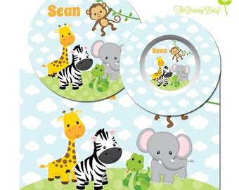 Personalized Plate for Kids - Safari Plate, Bowl or Placemat - Safari Animal Dinnerware - Custom Kids' Tableware