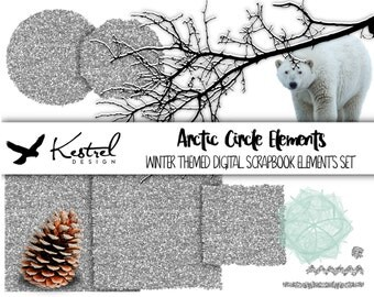 Arctic Circle Theme Digital Scrapbook Elements - 12 Winter Glitter Snow Bear and Pinecone - Kestrel Design immediate download - scrapbooking