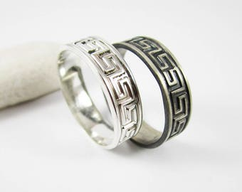 Greek Key Ring 1 5 Mm 925 Sterling Silver Band Pattern