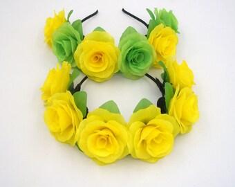 Yellow Flower Crown,Yellow Rose Headband,Yellow Flower Headband,Yellow Rose Crown,Girls Women Adult Floral Headband,Silk Rose Flower Halo