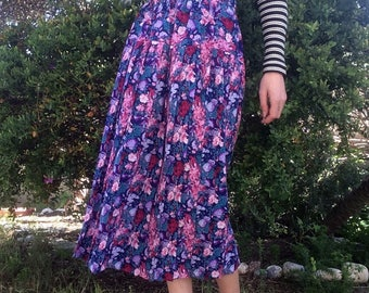 Vintage 80s pleated floral midi skirt / Size Small