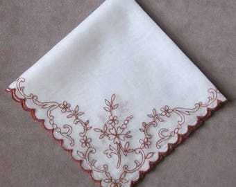 Rust Brown Embroidered White Silky Cotton Handkerchief with Rust Bronze Embroidered Scallop Edge Hanky 10 1/2 Inches Square Vintage 1960's