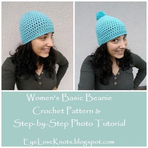 CROCHET PATTERN Womens Basic Beanie Step-by-Step Photo
