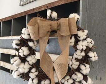 14 inch Cotton Wreath with burlap bow
