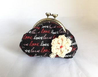 love - flower inspired large coin purse kiss clasp