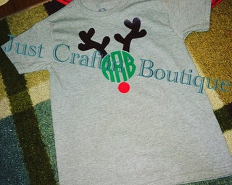 Reindeer monogram boys / girls -can add bow- Christmas shirt // any color nose