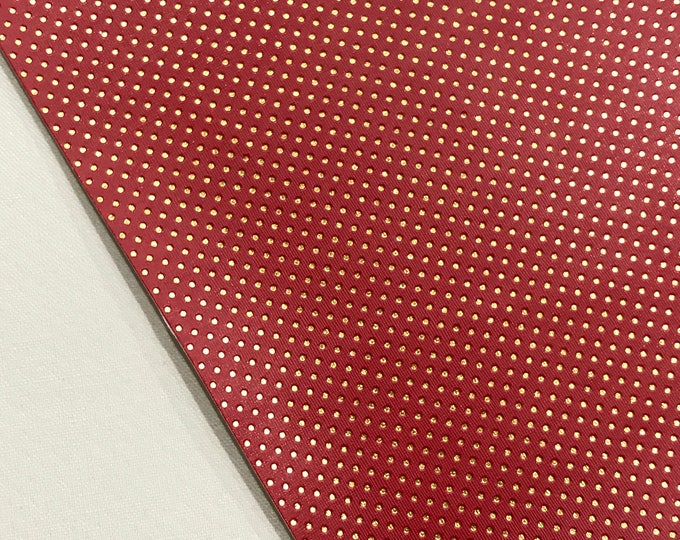 Red with Fine Embossed Gold Dots Leatherette Sheet  A5 A4 Size Faux Leather Fabric -  8X11 Gold Dot PU Leather Thin Leatherette