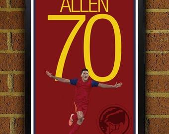 Jordan Allen 70 Real Salt Lake Poster - MLS - USA Soccer Poster- 8x10, 8.5x11, 13x19, poster art, wall decor home decor, gift