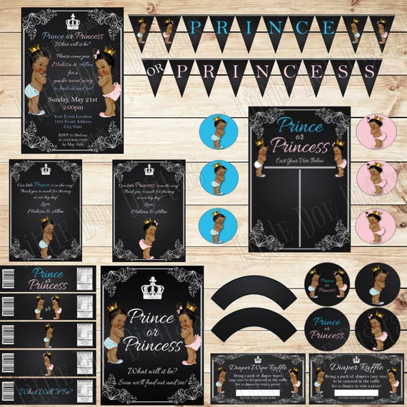 Printable african american prince or princess gender reveal - African american party ideas ...