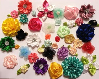 40 pc. FABRIC FLOWER SET. Satin, chiffon, organza, polyester, etc. For headbands and hair bows. mix of types and colors
