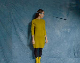 CHARTREUSE SWEATER DRESS