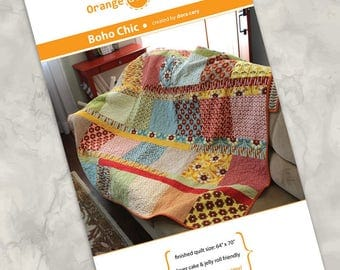 "Printed quilt pattern - ""Boho Chic"" - Easy & fun quilt using precuts - Layer Cake squares, Jelly Roll strips - 64""x70"" - more sizes offered"