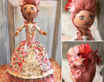 Baroque Marie Antoinette Style Art Doll in Shades of Pink OOAK Handmade