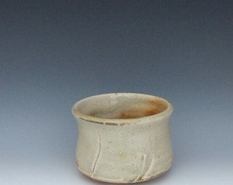 Whiskey cup wood fired white shino glaze