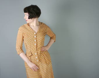 40s POLKA dot dress in CARAMEL brown and white - 3/4 sleeves and shawl collar - landgirl tea dress - s-m