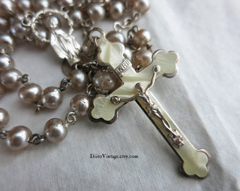 Vintage Rosary, Mother of Pearl Crucifix, Religious Necklace, Silver Crucifix, Catholic Jewelry, Prayer Beads, Prayer Necklace, JAPAN