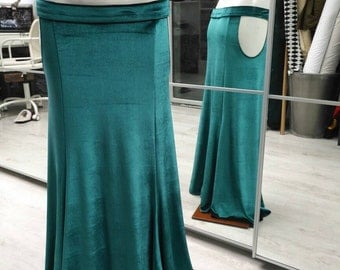 Emerald velvet mermaid skirt