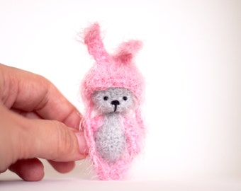 2 inches miniature Teddy bear Bunny hat, Blythe friend, artist teddy bears, crochet teddy bear, Ooak bear, gift for her, custom bear, toy