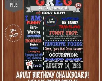 Captain America Adult Birthday Chalkboard - Funny Adult Chalkboard - Men Funny Chalkboard - DIGITAL - Red - Superhero Adult Birthday