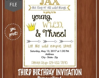 Young, Wild, & Three Birthday Invitation - Third Birthday Invitation - Boys Birthday Invite - Wild Rumpus - 3rd Birthday Invite - Wild Three