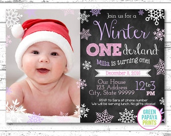 Winter Onederland Invitation - Digital File - Printable - Pink and Lavender - Snowflake - Girl's First Birthday Invitation