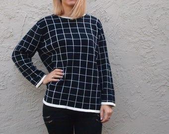 Slouchy Minimalist Graphic Geometric Cotton Sweater