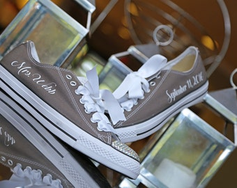 Wedding Converse, Bridal Converse, Personalized Converse, Wedding Shoes, Customized Converse, Bling Converse