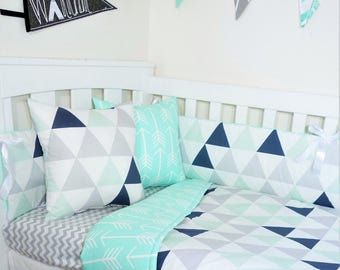 Mint, navy and grey triangles, mint arrows nursery items
