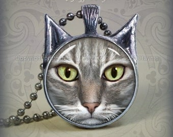 Cat Necklace pendant // Cat Lover  // Grey Tabby Cat pendant // White Grey Tabby Cat // Gray and White Tabby Cat // cat necklace // TBW31