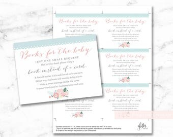 Simple floral baby shower book request cards printable, books for baby insert, bring a book instead of a card DIY, INSTANT DOWNLOAD, 002