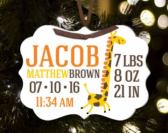 Birth announcement Christmas ornament giraffe with name and birth stats - adorable new baby welcome gift  BABOG